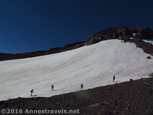 This is the route my hiking companions took - up this snowfield, then left around Butte 9000, then up the other side (dodging bushes and scree), Shasta-Trinity National Forest, California