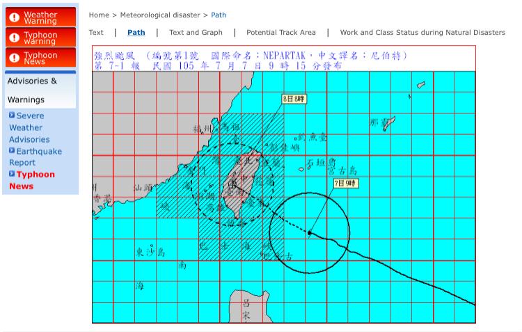 Cuando los tifones van a pasar por Taiwán, el centro meteorológico emite una alerta y la actualiza cada pocas horas