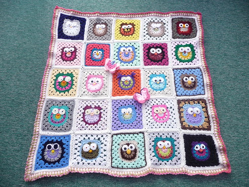 'SIBOLETTES' were invited to make an Owl Square by mandas' challenges. Today I received the Blanket back. Wow! Thank you all so much! | by MRS TWINS/SIBOL 'Sunshine International Blankets