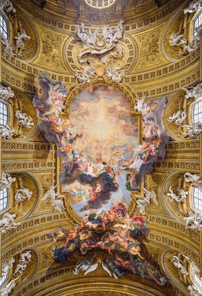 Quadratura illusionistic ceiling painting triumph of the