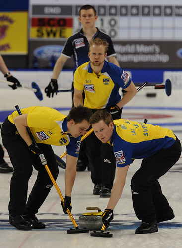 Victoria B.C.April 5,2013.Ford Men's World Curling Championship.Sweden skip Niklas Edin,lead Viktor Kjall,second Fredrik Lindberg.CCA/michael burns photo | by seasonofchampions