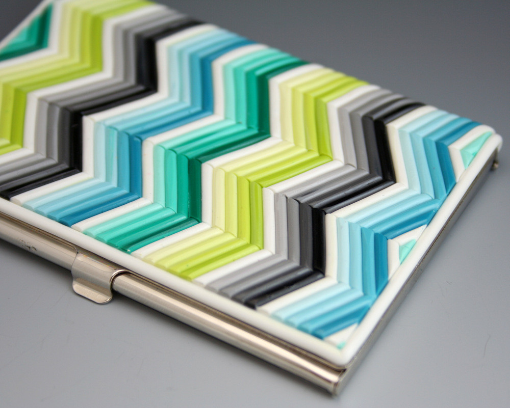 Zigzag chevron business card case in turquoise emerald s flickr zigzag chevron business card case in turquoise emerald spring green gray polymer clay reheart Gallery