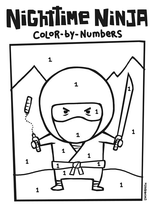 nighttime ninja coloring page follow the number code for s flickr. Black Bedroom Furniture Sets. Home Design Ideas
