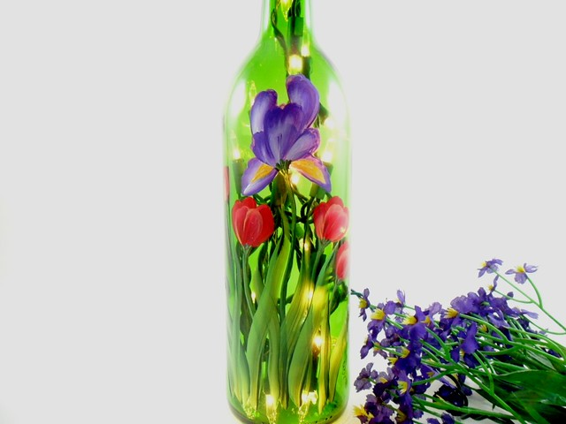 Lighted wine bottle purple iris red tulips hand painted for Lighted wine bottle craft