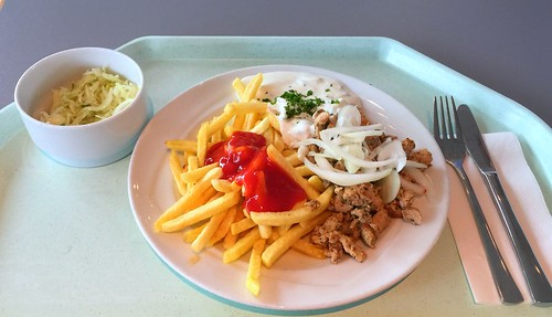 Gyros with fresh onions, tzatziki & french fries / Gyros mit frischen Zwiebel, Tzatziki & Pommes frites