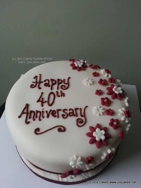 40th Ruby Wedding Anniversary Cake Simple Ruby Wedding Ann Flickr