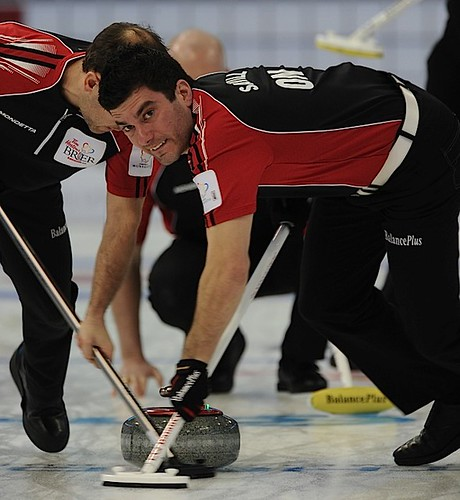 Edmonton Ab.Mar2,2013.Tim Hortons Brier.Ontario lead Craig Savill.CCA/michael burns photo | by seasonofchampions