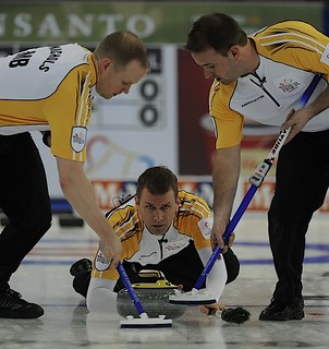 Edmonton Ab.Mar2,2013.Tim Hortons Brier.Manitoba skip Jeff Stoughton,lead Mark Nichols,second Ried Carruthers.CCA/michael burns photo | by seasonofchampions
