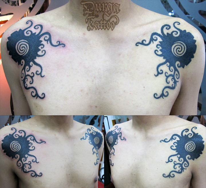 customized dayak punan tribe of borneo shoulder tattoo flickr. Black Bedroom Furniture Sets. Home Design Ideas