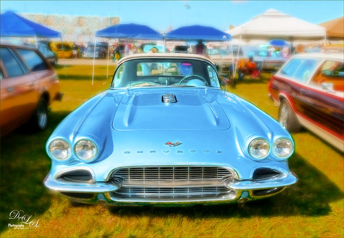 Image of a vintage blue corvette