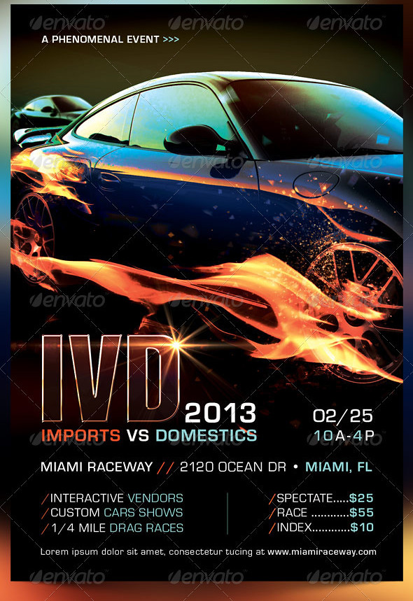 Import Vs Domestics Car Racing Flyer Template | The Import V… | Flickr