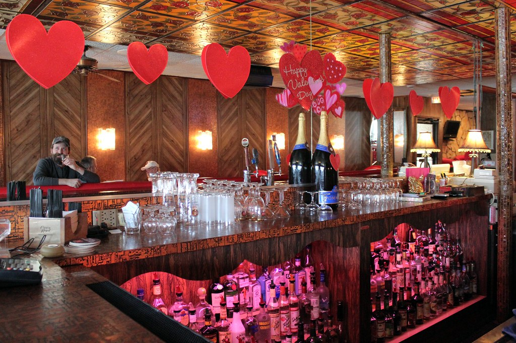 Valentine s day decorations behind the bar at marie pizz