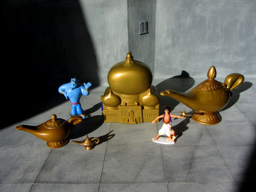 A Selection Of Plastic Aladdin Toys: Genie Figurine And Al… | Flickr for Magic Lamp Aladdin Disney  539wja