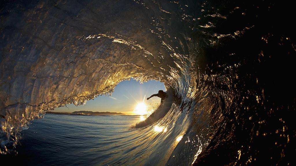 Surfing Wallpaper Hd Wave Gold Sunset