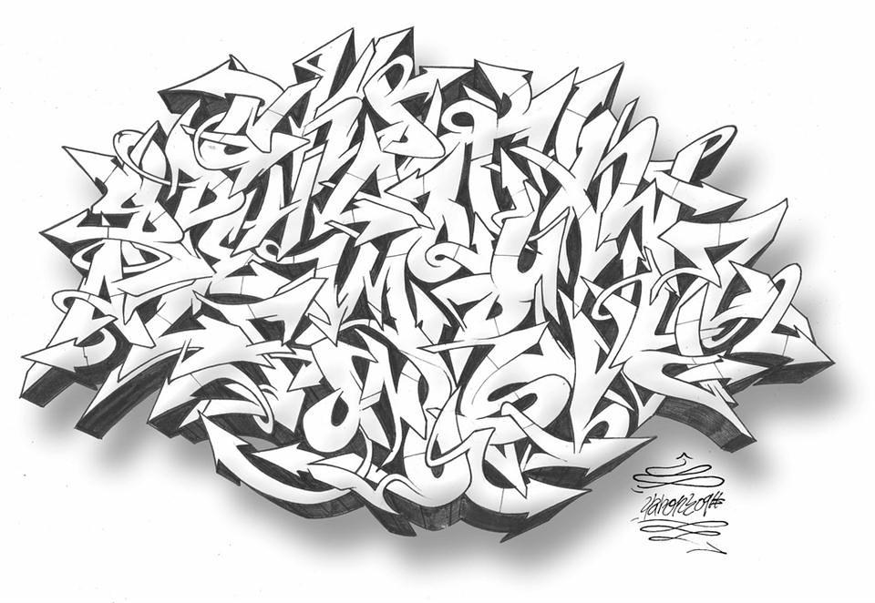Mad Wild Style Graffiti Alphabet Black White Best