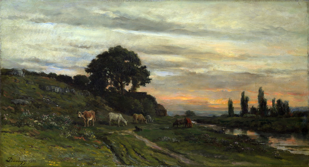 Charles Francois Daubigny Landscape With Cattle By A Str
