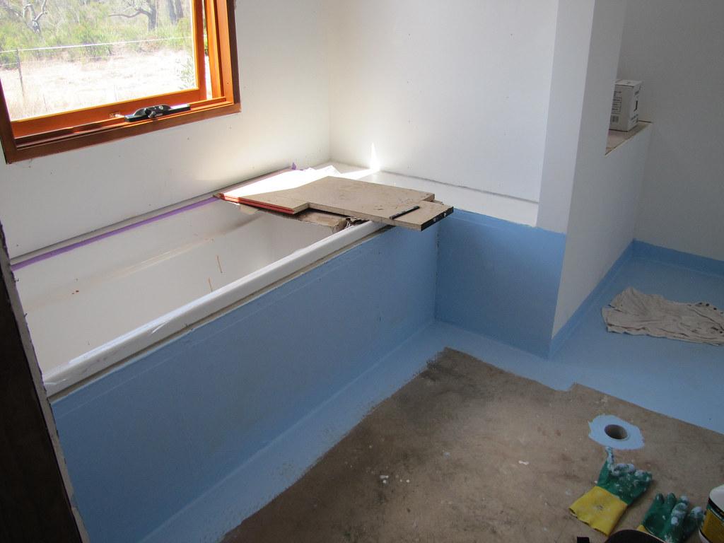 Waterproofing ensuite bathroom strawbale house build in for Waterproof bathroom flooring