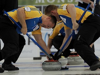 Edmonton Ab.Mar5,2013.Tim Hortons Brier.Alberta lead Ben Hebert,second Marc Kennedy.CCA/michael burns  photo | by seasonofchampions