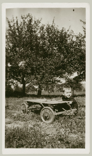 Boy and stripped down wagon