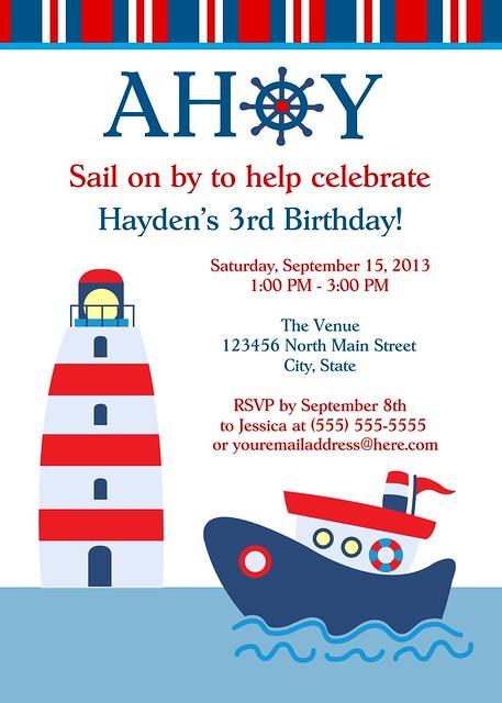Sailor Sailboat Nautical Birthday Party Invitation ...