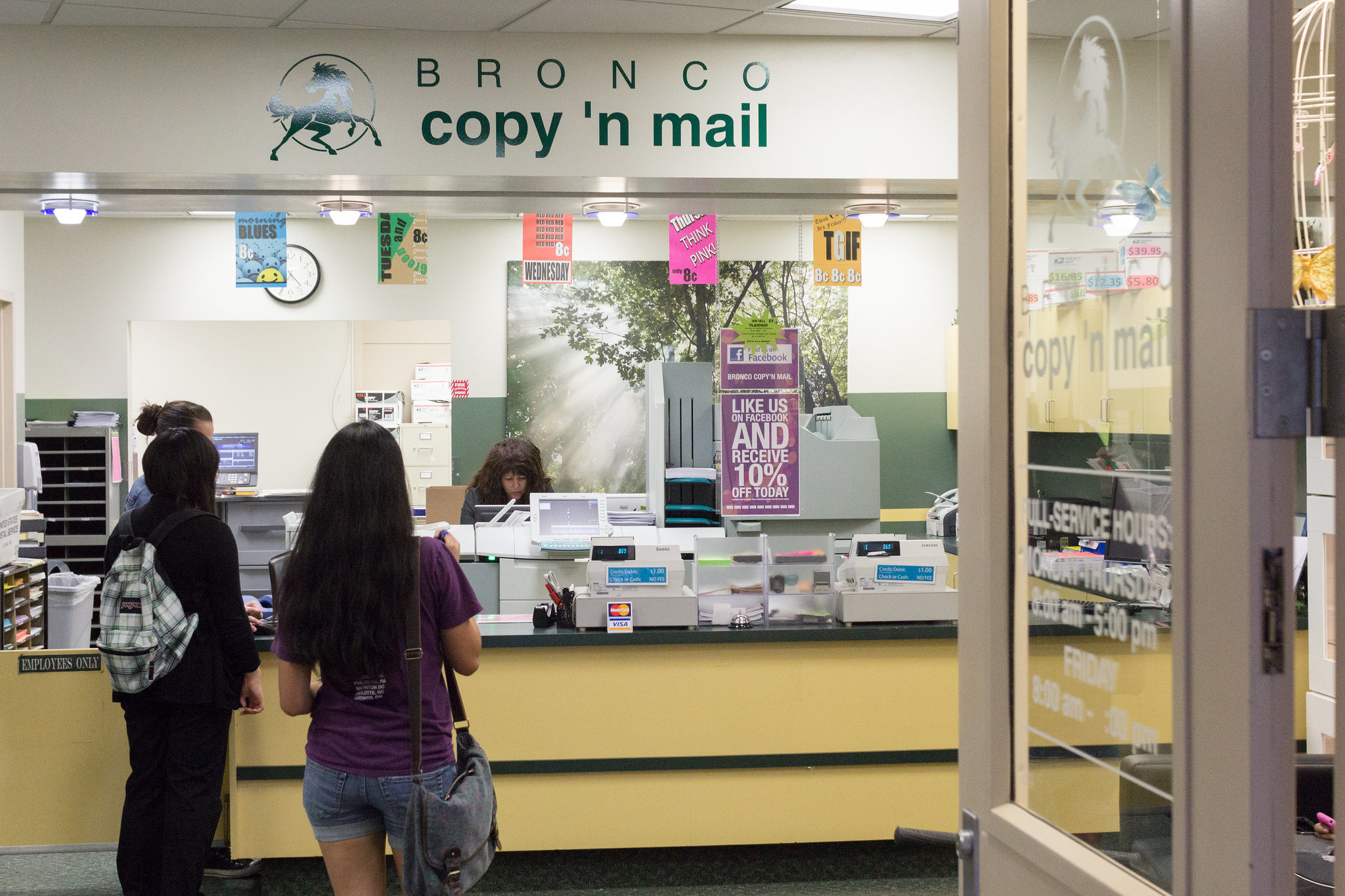 Students wait in line at the Bronco Copy N Mail