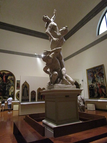 the rape of the sabine women by giambologna  in the loggia