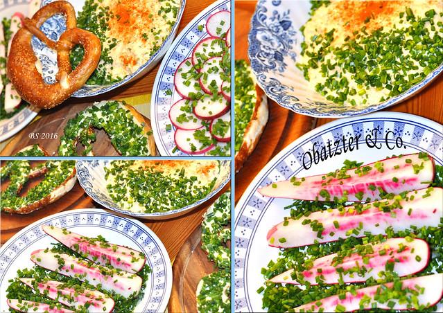 Vegetarisch - O'zapft is! Ein kleines bayerisches Schmankerl-Buffet ohne Weißwurst? Chefköchin Karla Kunstwadl macht's fleischlos glücklich. Butterbrezn, mmmhhh. Die Steigerung: Schnittlauchbutterbrezn. Das Carpaccio aus rotem, scharfem Rachenputzer-Rettich erfrischt. Karlas Rezept für Obatzten ist kinderleicht. Camembert : Doppelrahmfrischkäse : Butter im Verhältnis 3:2:1 - dazu feingewiegte Zwiebel, Knoblauch, Schnittlauch, Pfeffer, Paprikapulver und ein Schluck Bier. Käse und Butter mit der Gabel grob zerdrücken und alle anderen Zutaten gut untermischen - o'batzt is! - Fotos und Collagen: Brgitte Stolle 2016