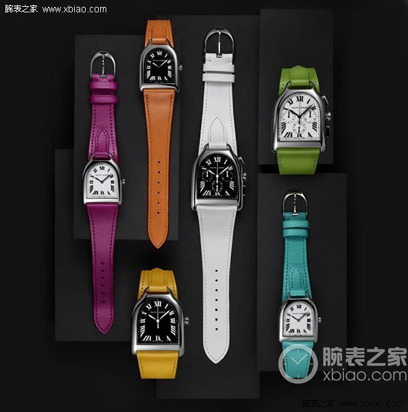 12 bright color calfskin and crocodile leather strap, with different size Stirrup series stainless-steel bezel wristwatches. If you don't like the style of chain link, then belts of the gorgeous, can satisfy your fashion woman?