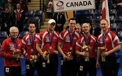 Victoria B.C.April 7,2013.Ford Men's World Curling Championship.Silver Medalist Canada.Coach TomCoulterman,Alt-M.Dumontelle,lead Ryan Harnden,second E.J.Harnden,third Ryan Fry,skip Brad Jacobs.CCA/michael burns photo | by seasonofchampions