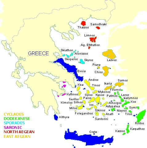 Map of Greeces Aegean Islands 1985 These are the commonl Flickr