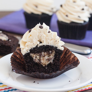 Cookie Dough-Stuffed Dark Chocolate Cupcakes | by Tracey's Culinary Adventures