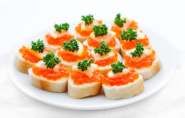 Canapes with salmon caviar lemon and parsley flickr for Canape with caviar