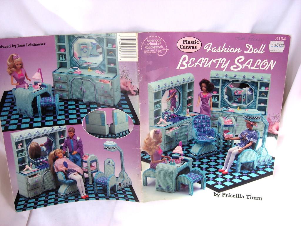 Fashion Doll Barbie Beauty Salon Plastic Canvas Pattern Bo