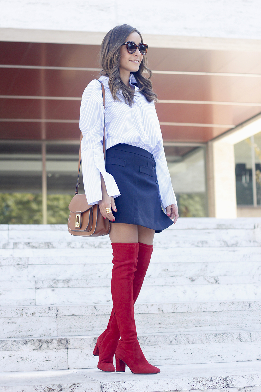 Red over the knee boots blue skirt sunnies accessories outfit style fashion01