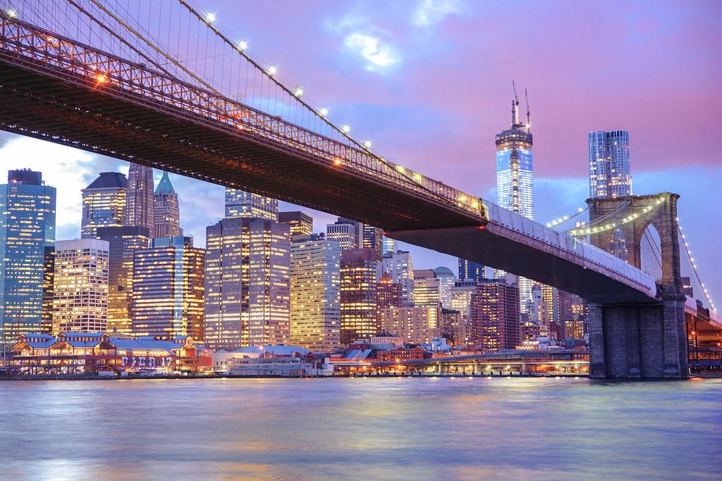brooklyn bridge and new york city skyline city lights flickr. Black Bedroom Furniture Sets. Home Design Ideas