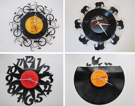 Vinyl records made into laser cut clock designs from www for Vinyl records decorations for wall