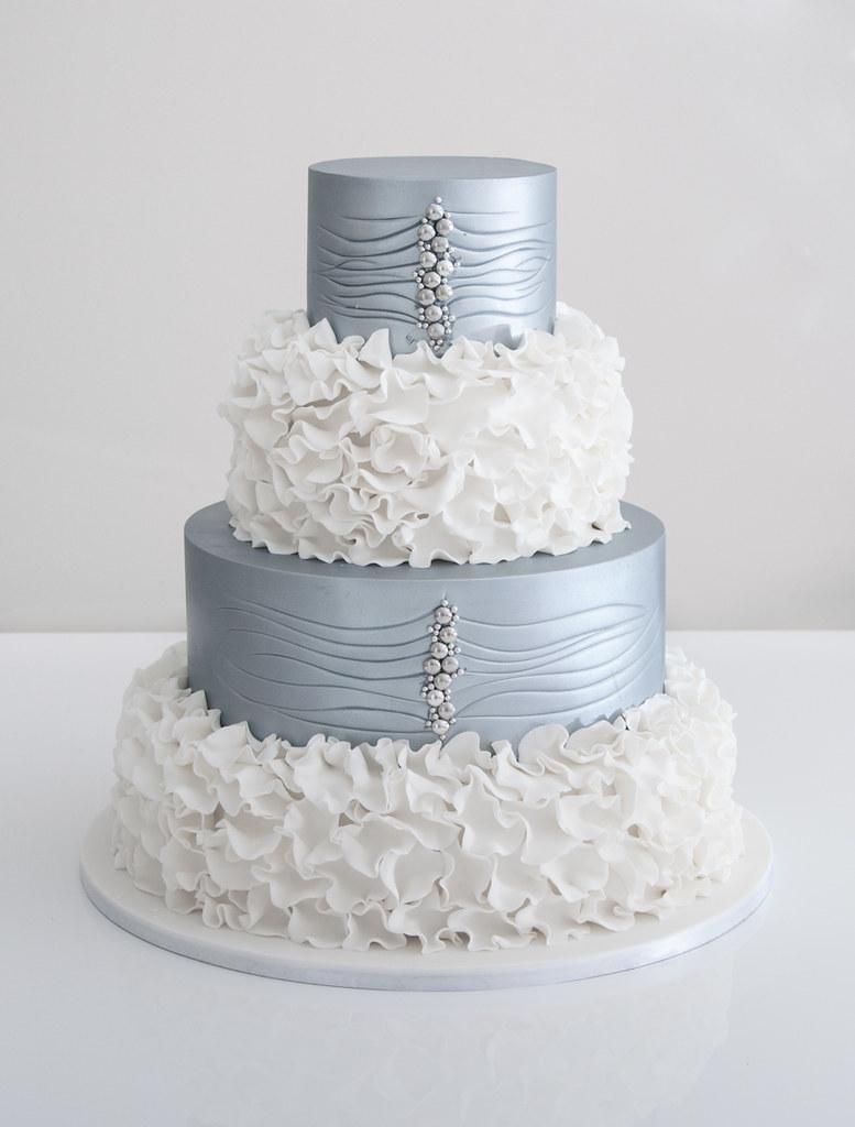 Silver and white wedding cake | Cake Teacher | Flickr