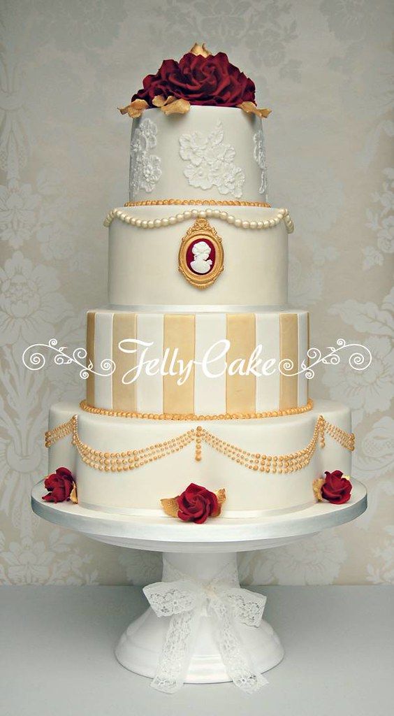 Vintage Red and Gold Wedding Cake | Designed to match the go… | Flickr