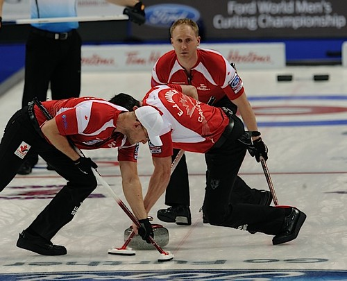 Victoria B.C.April 6,2013.Ford Men's World Curling Championship.Canada skip Brad Jacobs,second E.J.Harnden,lead Rayn Harnden,CCA/michael burns photo | by seasonofchampions