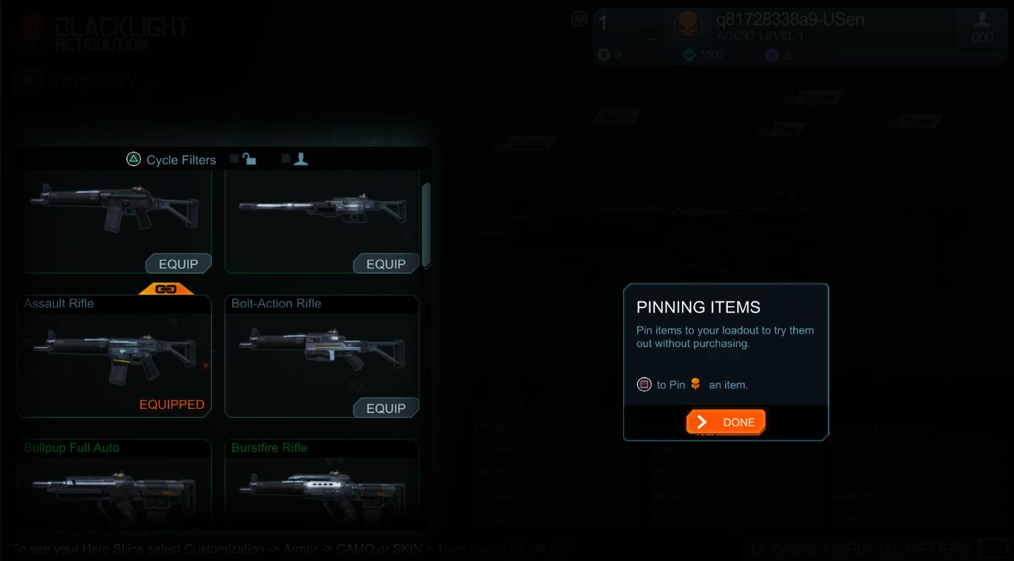 Pinning items