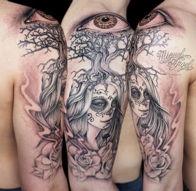 Day Of The Death Woman, Roses, Tree And Eye Custom Tattoo