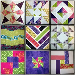 NuBees blocks for purple, green, pink quilt by sunshine_sally