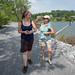 Tara and Beth Walking on Causeway in Lake Champlain