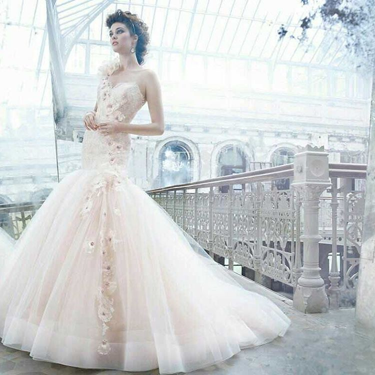 This #pastel #pink #colored wedding gown can be easily rec… | Flickr