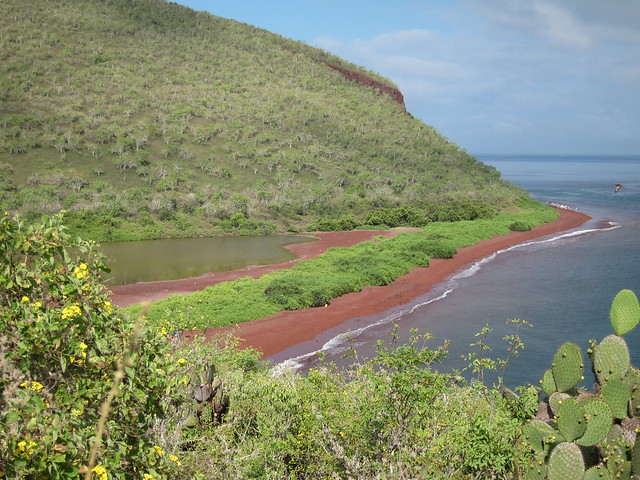 Red Sand Beach - our landing site (aka iron rich, oxidized lava)