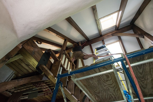 Tyler Brad Nailing Quarter Round Trim to Peak of Ceiling | by goingslowly