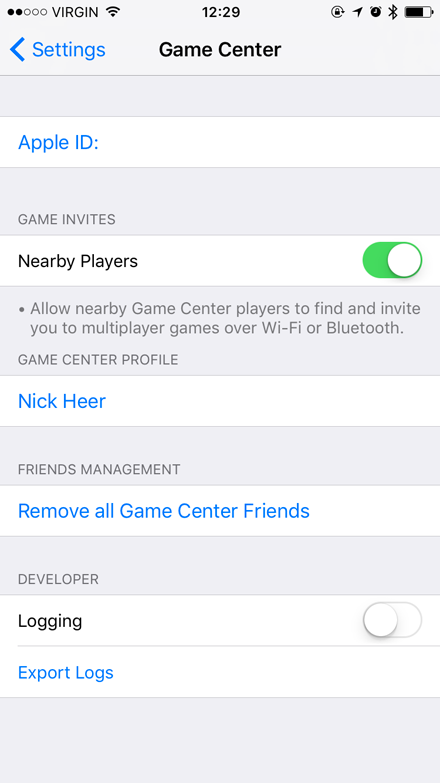 Game Centre options
