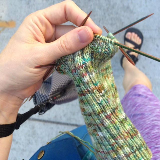 Knitting while I walk home from the bus stop.