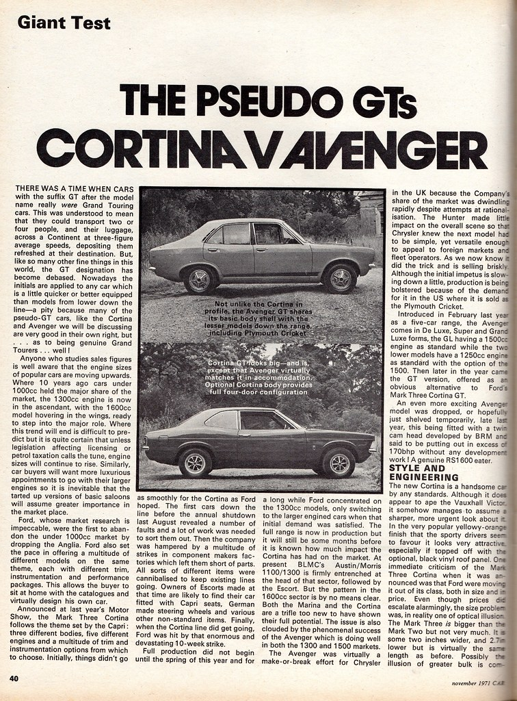 Car With Road >> Ford Cortina 1600 GT Mk3 & Hillman Avenger 1500 GT Twin Road Test 1971   Flickr