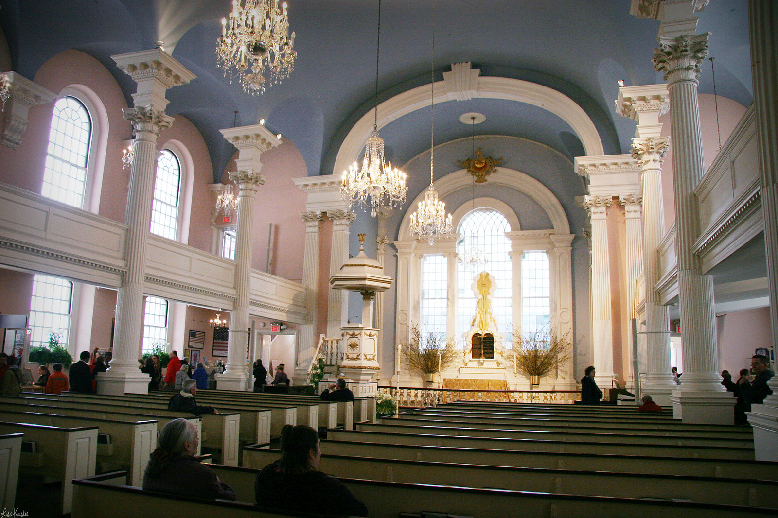 Saint Paul's Chapel church inside interior pink blue spring april 2007